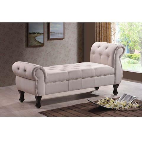 Baxton Studio Zook Light Beige/Grey Upholstered Modern Tufted Bench