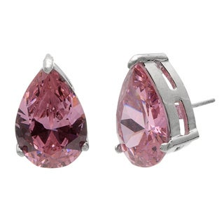 Silvertone Pink Pear-cut Cubic Zirconia Earrings