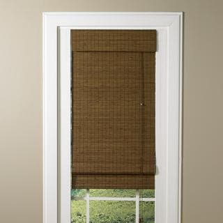 LaStella Collection Bamboo Roman Shade in Sesame Brown Finish
