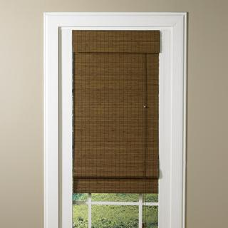 Lewis Hyman LaStella Collection Bamboo Roman Shade in Sesame Brown Finish