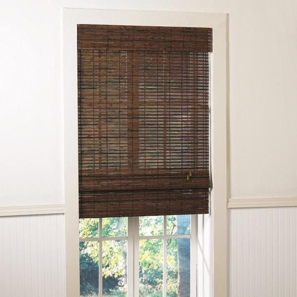 Lewis Hyman Santa Collection Cruz Rosewood Finished Bamboo Roman Shade