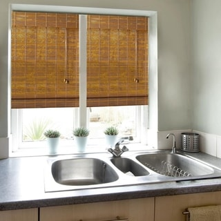 Lewis Hyman Monterrey Collection Bamboo Roman Shade and Natural Finish