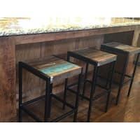 Timbergirl Industrial Old Reclaimed Wood and Iron Stool (India)