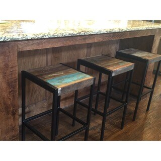 Handmade Timbergirl Industrial Old Reclaimed Wood and Iron Stool (India)
