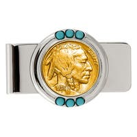 American Coin Treasures Gold-Plated Buffalo Nickel Turquoise Money Clip