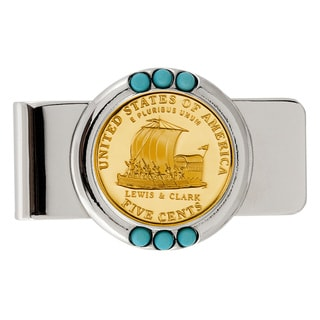 American Coin Treasures Gold-Plated Westward Journey Keelboat Nickel Turquoise Money Clip