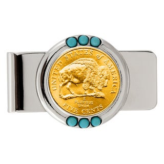 American Coin Treasures Gold-Plated Westward Journey Bison Nickel Turquoise Money Clip