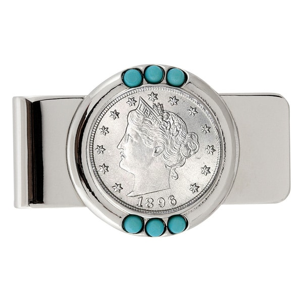 American Coin Treasures 1800's Liberty Nickel Turquoise Money Clip