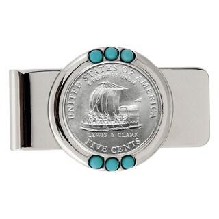 American Coin Treasures Westward Journey Keelboat Nickel Turquoise Money Clip