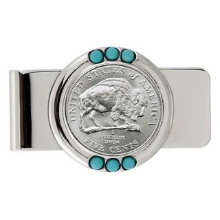 American Coin Treasures Westward Journey Bison Nickel Turquoise Money Clip
