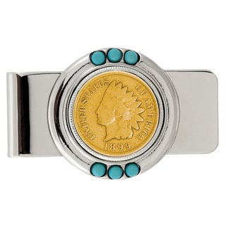American Coin Treasures Gold-Plated 1800's Indian Penny Turquoise Money Clip