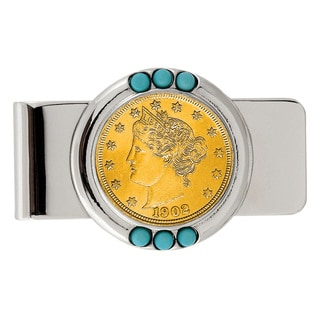 American Coin Treasures Gold-Plated Liberty Nickel Turquoise Money Clip