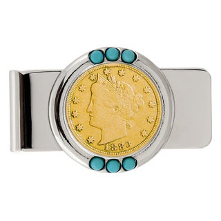 American Coin Treasures Gold-Plated 1800's Liberty Nickel Turquoise Money Clip