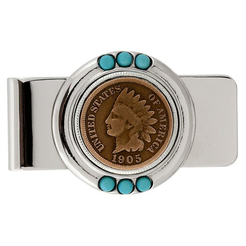 American Coin Treasures Indian Head Penny Turquoise Money Clip