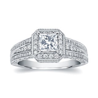 Auriya 14k White Gold 1 1/4ct TDW Princess-Cut Diamond Engagement Ring