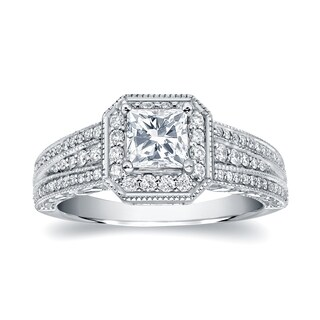 14k White Gold 1 1/4ct TDW Vintage Inspired Princess-Cut Halo Diamond Engagement Ring
