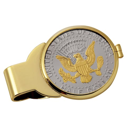 American Coin Treasures Selectively Gold-Plated Presidential Seal Half Dollar Goldtone Money Clip