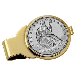 American Coin Treasures Silver Seated Liberty Half Dollar Goldtone Money Clip