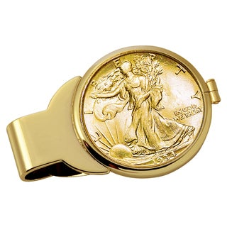 American Coin Treasures Gold-Plated Silver Walking Liberty Half Dollar Goldtone Money Clip