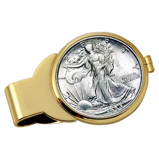 American Coin Treasures Silver Walking Liberty Half Dollar Goldtone Money Clip