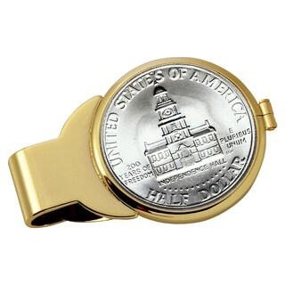 American Coin Treasures JFK Bicentennial Half Dollar Goldtone Money Clip