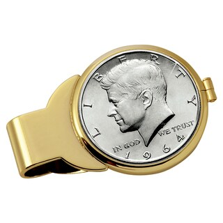 American Coin Treasures JFK 1964 First Year of Issue Half Dollar Goldtone Money Clip