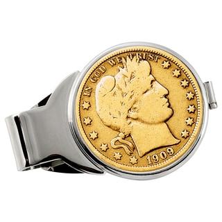 American Coin Treasures Gold-Plated Silver Barber Half Dollar Silvertone Money Clip