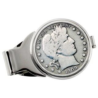 American Coin Treasures Silver Barber Half Dollar Silvertone Money Clip