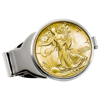 American Coin Treasures Gold-Plated Silver Walking Liberty Half Dollar Silvertone Money Clip