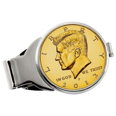 American Coin Treasures Gold-Plated JFK Half Dollar Silvertone Money Clip