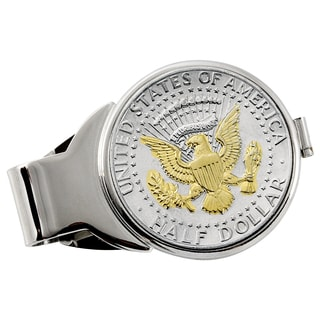 American Coin Treasures Selectively Gold-Plated Presidential Seal Half Dollar Silvertone Money Clip