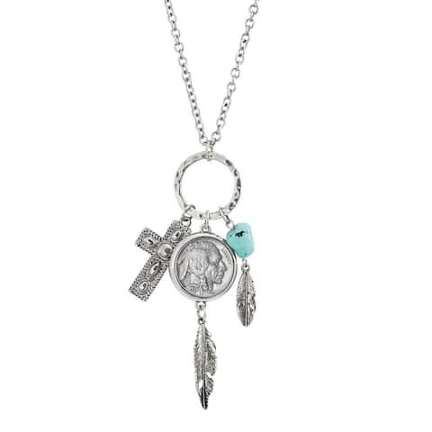 Buffalo Nickel Silvertone Cross and Feather Pendant