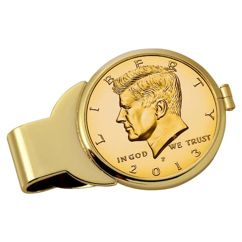 American Coin Treasures Gold-Plated JFK Half Dollar Goldtone Money Clip