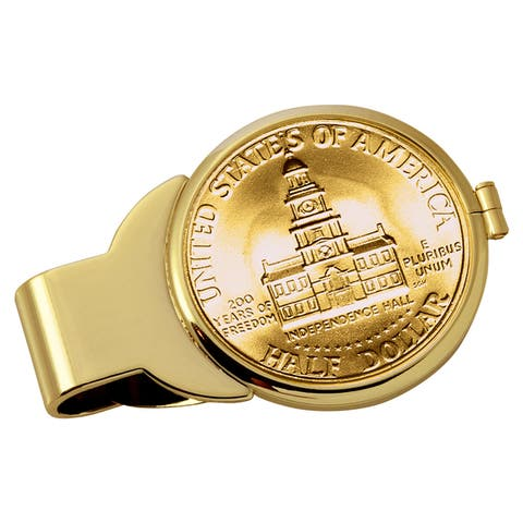 American Coin Treasures Gold-Plated JFK Bicentennial Half Dollar Goldtone Money Clip