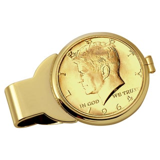 American Coin Treasures Gold-Plated JFK 1964 First Year of Issue Half Dollar Goldtone Money Clip