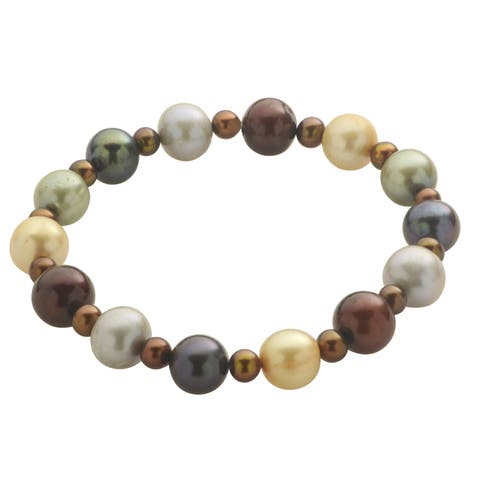 Pearls For You 7.5-inch Multi-color Freshwater Pearl Stretch Bracelet (4-10 mm)