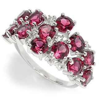 Sterling Silver 4.5ctw Rhodolite and White Topaz Cluster Wide Ring