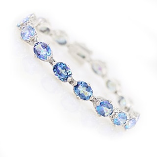 Platinum Over Sterling Silver Blue Millenium Topaz Tennis Bracelet