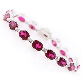 Platinum Over Sterling Silver Ruby Red Topaz Tennis Bracelet