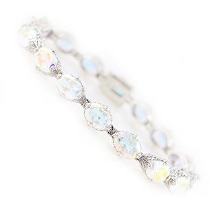 Platinum Over Sterling Silver White Opal Topaz Tennis Bracelet