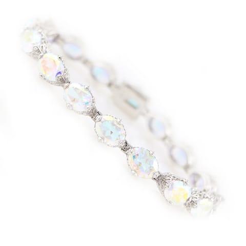 Pinctore Platinum Over Sterling Silver White Opal Topaz Tennis Bracelet