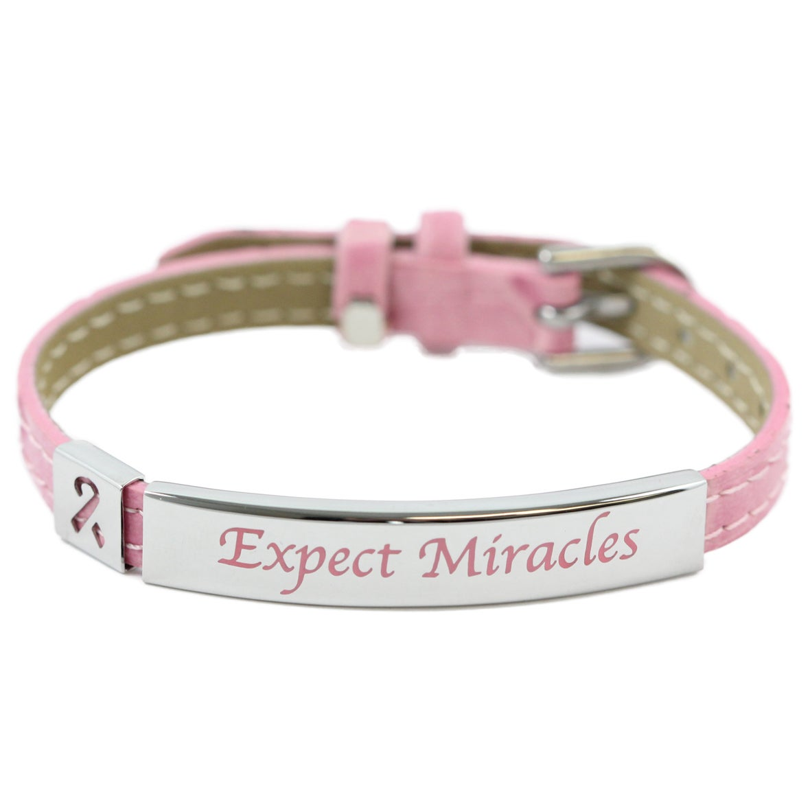 Rush Industries Expect Miracles' Pink Faux Leather Bracel...