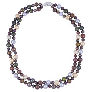 Sterling Silver 2-row Multi-colored Freshwater Pearl Necklace