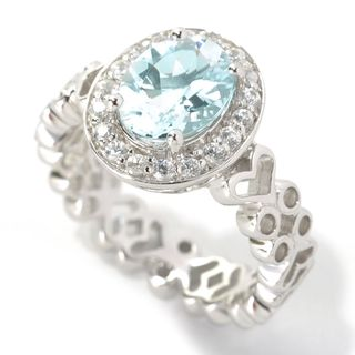 Sterling Silver 1.79ctw Oval Aquamarine/ White Zircon Halo Ring