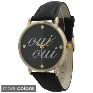 Olivia Pratt Women's 'Oui Oui' Leather Strap Watch