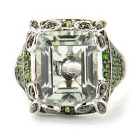 Sterling Silver Emerald Cut 7.11ctw Green Amethyst/ Chrome Diopside/ Diamond Ring