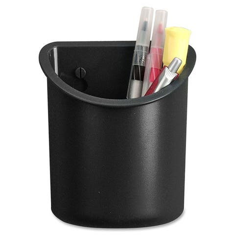 Lorell Black Recycled Plastic Mounting Pencil Cup
