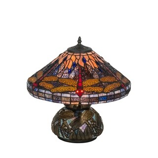 Tiffany-style Dragonfly Cone 2-light Table Lamp