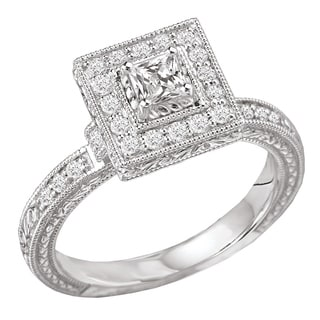 Avanti 14k White Gold 1/2 ct TDW Princess Halo Vintage Diamond Engagement Ring
