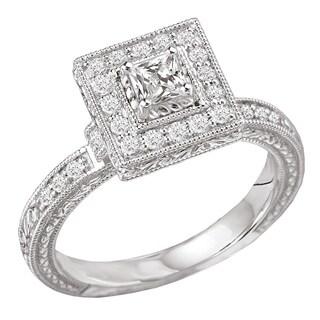 Avanti 14k White Gold 1/2 ct TDW Princess Halo Vintage Diamond Engagement Ring